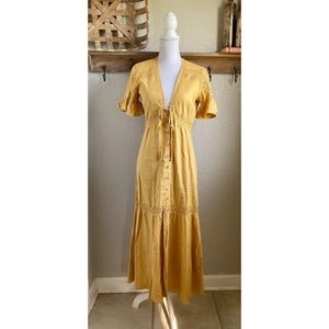 NEW Show Me Your Mumu Linen Maxi Dress Mustard